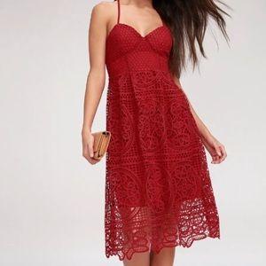 Lulus red lace/eyelet elegant midi dress
